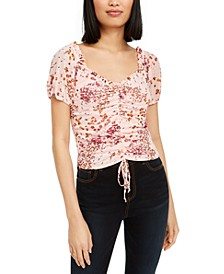 Juniors' Ruched Floral-Print Crop Top