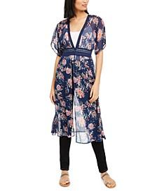 Crave Frame Juniors' Crochet-Trim Floral-Print Kimono-Style Cardigan