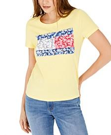 Floral-Print Patchwork Logo T-Shirt