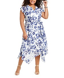 Plus Size Ruffled Chiffon Midi Dress