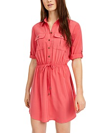 Juniors' Drawstring Utility Shirtdress