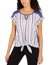 Juniors' Striped Tie-Front Top