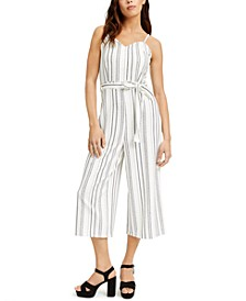 Juniors' Belted Striped Jumpsuit
