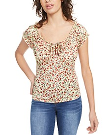Juniors' Puff-Sleeve Peasant Blouse