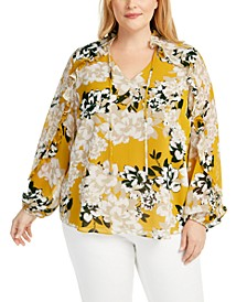 Plus Size Floral-Print Ruffle Top