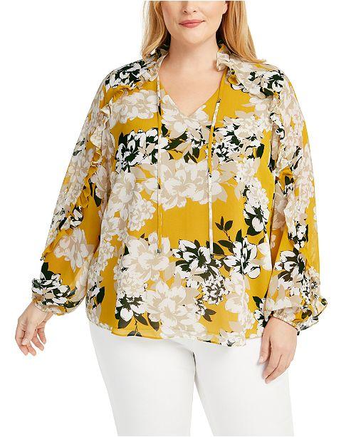 Calvin Klein Plus Size Floral-Print Ruffle Top