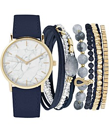 Women's Navy Faux Leather Strap Watch 36mm Gift Set