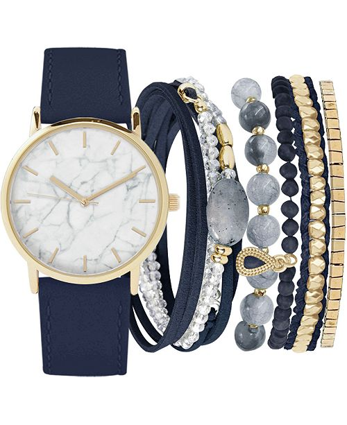 Jessica Carlyle Women's Navy Faux Leather Strap Watch 36mm Gift Set