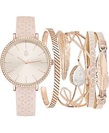 Women's Blush Cut-Out Faux Leather Strap Watch 36mm Gift Set