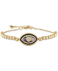Gold-Tone Pavé & Stone Evil Eye Beaded Flex Bracelet