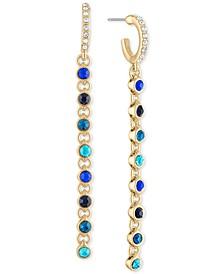 Gold-Tone Crystal Hoop & Link Chain Linear Drop Earrings