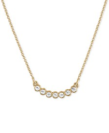 """Gold-Tone Crystal Curved Pendant Necklace, 16"""" + 2"""" extender"""