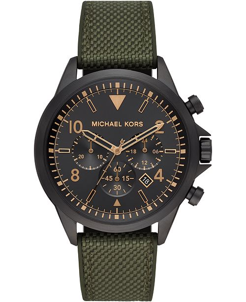 Michael Kors Men's Chronograph Gage Olive Nylon & Silicone Strap Watch 45mm