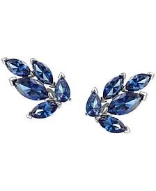 Silver-Tone Crystal Leaf Stud Earrings
