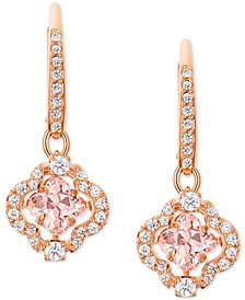 Rose Gold-Tone Crystal Clover Drop Earrings