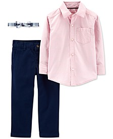 Toddler Boys 3-Pc. Cotton Gingham Shirt, Solid Pants & Plaid Bow Tie Set