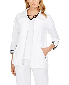 Petite Wing-Collar Striped-Cuff Jacket, Created for Macy's