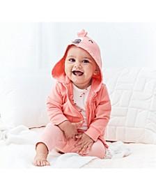 Baby Girls 3-Pc. Cotton Flamingo Hoodie, Bodysuit & Leggings Set
