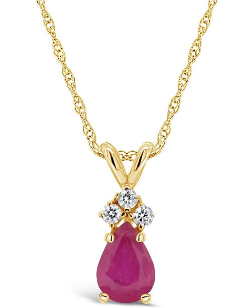 Macy's Ruby (1/2 ct. t.w.) and Diamond Accent Pendant Necklace in 14k Yellow Gold