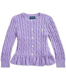 폴로 랄프로렌 여아용 가디건 Polo Ralph Lauren Toddler Girls Peplum Cardigan,Hampton Purple