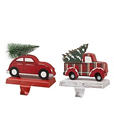 Red Car Truck Stocking Holder Set of 2