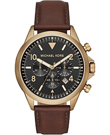 Men's Chronograph Gage Chocolate Leather Strap Watch 45mm