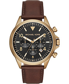 Michael Kors Men's Chronograph Gage Chocolate Leather Strap Watch 45mm