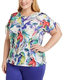 Plus Size Costa Rica Tropical-Print Top
