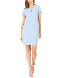 Square-Neck Keyhole Sheath Dress