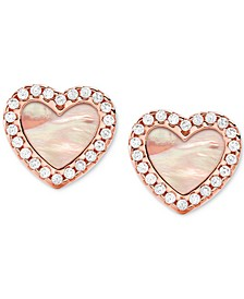 Sterling Silver Cubic Zirconia & Mother-of-Pearl Heart Stud Earrings