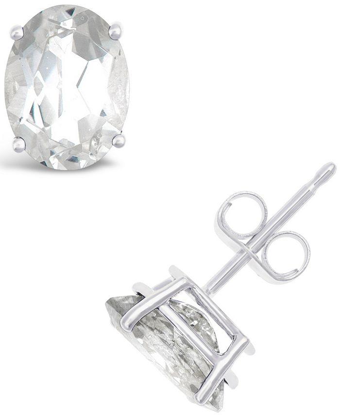 Macy's - White Topaz (3-1/5 ct. t.w.) Stud Earrings in 14K Gold