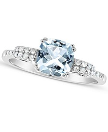 Aquamarine (1-1/4 ct. t.w.) and Diamond (1/10 ct. t.w.) Ring in Sterling Silver