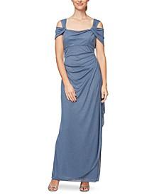 Cold-Shoulder Draped Metallic Gown Regular & Petite Sizes