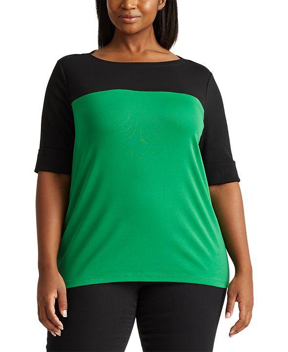 Lauren Ralph Lauren Plus-Size Two-Tone Boatneck Top