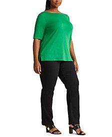 Plus-Size Cotton-Blend Boatneck Top