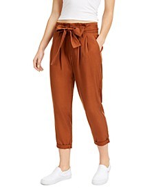 Juniors' High-Rise Paperbag Pants