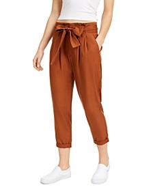 Juniors' High-Rise Paperbag Pants
