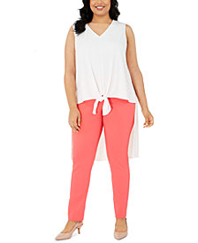 Alfani Plus Size Sleeveless Tie-Hem High-Low Top, Created for Macy's