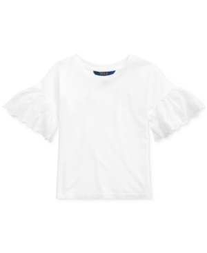 Polo Ralph Lauren Cottons LITTLE GIRLS EYELET COTTON-MODAL TOP