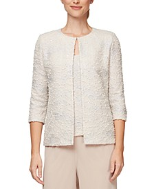 Petite Jacquard-Knit Jacket and Top