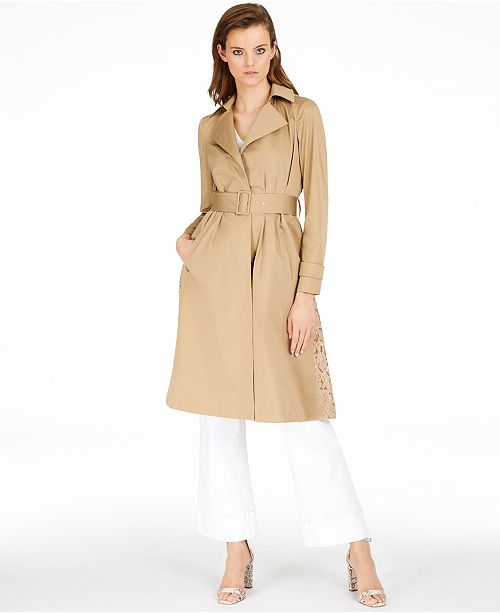 INC International Concepts INC Long Lace-Back Trench Coat, Created for Macy's