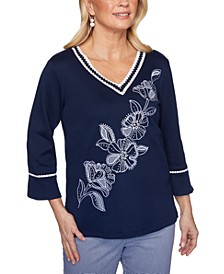Easy Street Floral-Embroidered Top