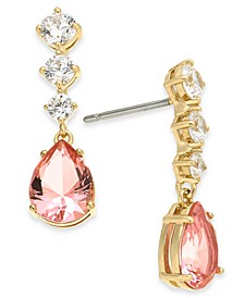 18k Gold-Plated Cubic Zirconia & Glass Drop Earrings, Created for Macy's