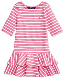 폴로 랄프로렌 여아용 원피스 Polo Ralph Lauren Toddler Girls Striped Stretch Jersey Dress,French Navy/White