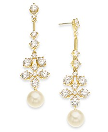 18k Gold-Plated Imitation Pearl & Cubic Zirconia Drop Earrings, Created for Macy's