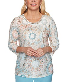 Chesapeake Bay Printed Lattice Textured Top