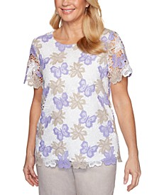 Nantucket Printed Lace Woven Top