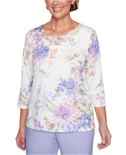 Alfred Dunner Nantucket Printed Embellished Lace-Yoke Top