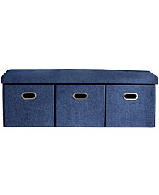 Posh Habitat by Foldable Tufted Large Bench Storage Ottoman with 3 Drawer Cubes