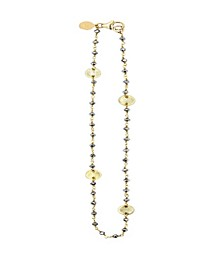 14k Gold Filled Semiprecious Stones and Coin Accents Handwrapped Necklace